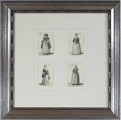 """Four Women in Period Theater Costumes,"" Etchings by Wenceslaus Hollar"