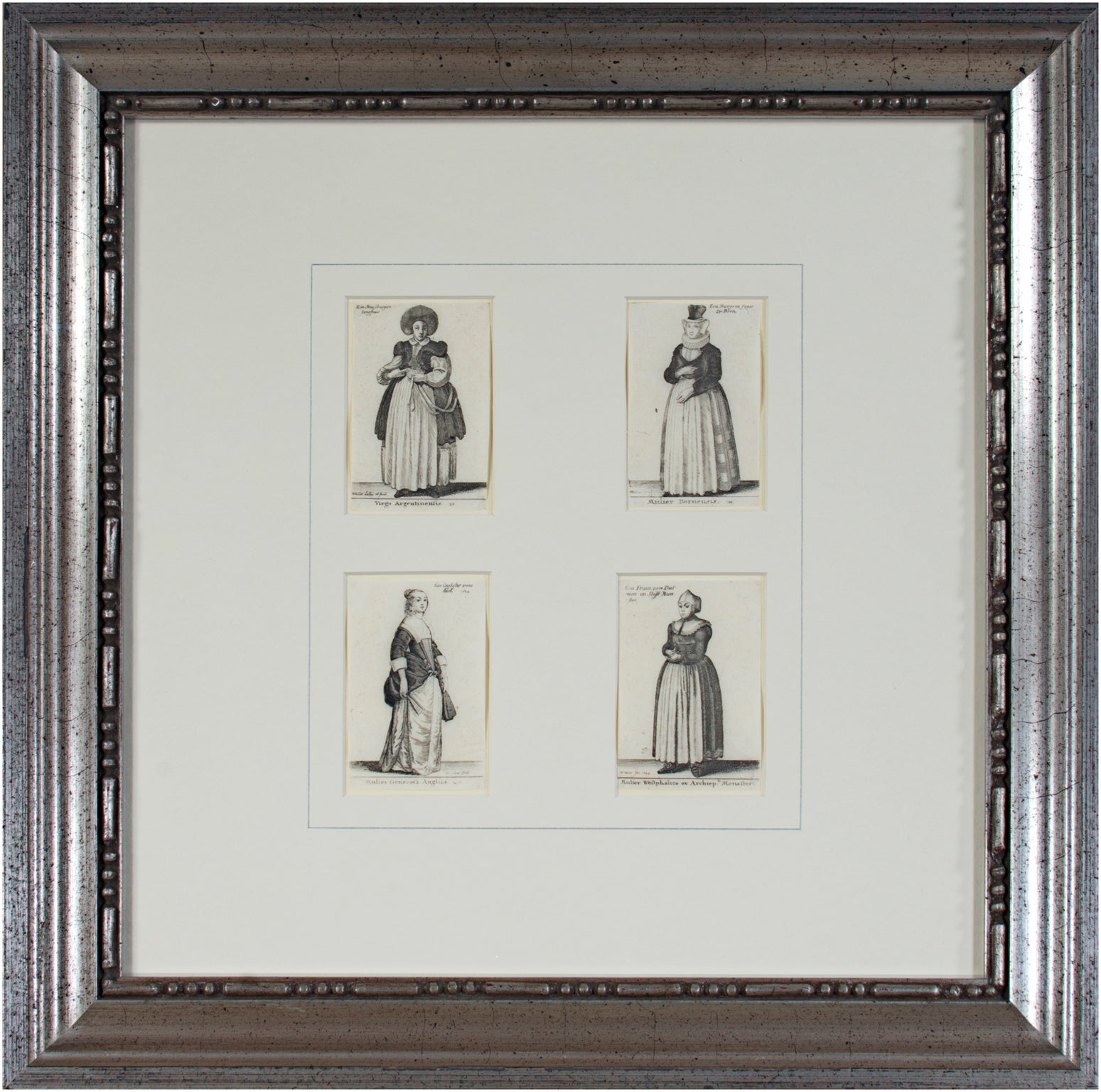 """""""Four Women in National Costumes,"""" Etchings by Wenceslaus Hollar"""