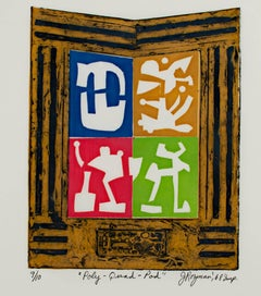 """Poly-Quad-Pod,"" Original Color Collagraph signed by Joseph Rozman"