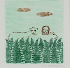"""""""Girl in Forest with Two Sheep,"""" an Original Etching signed by Keiko Minami"""