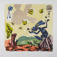 """Blue Bunny,"" a Woodcut signed by Santi Moix"
