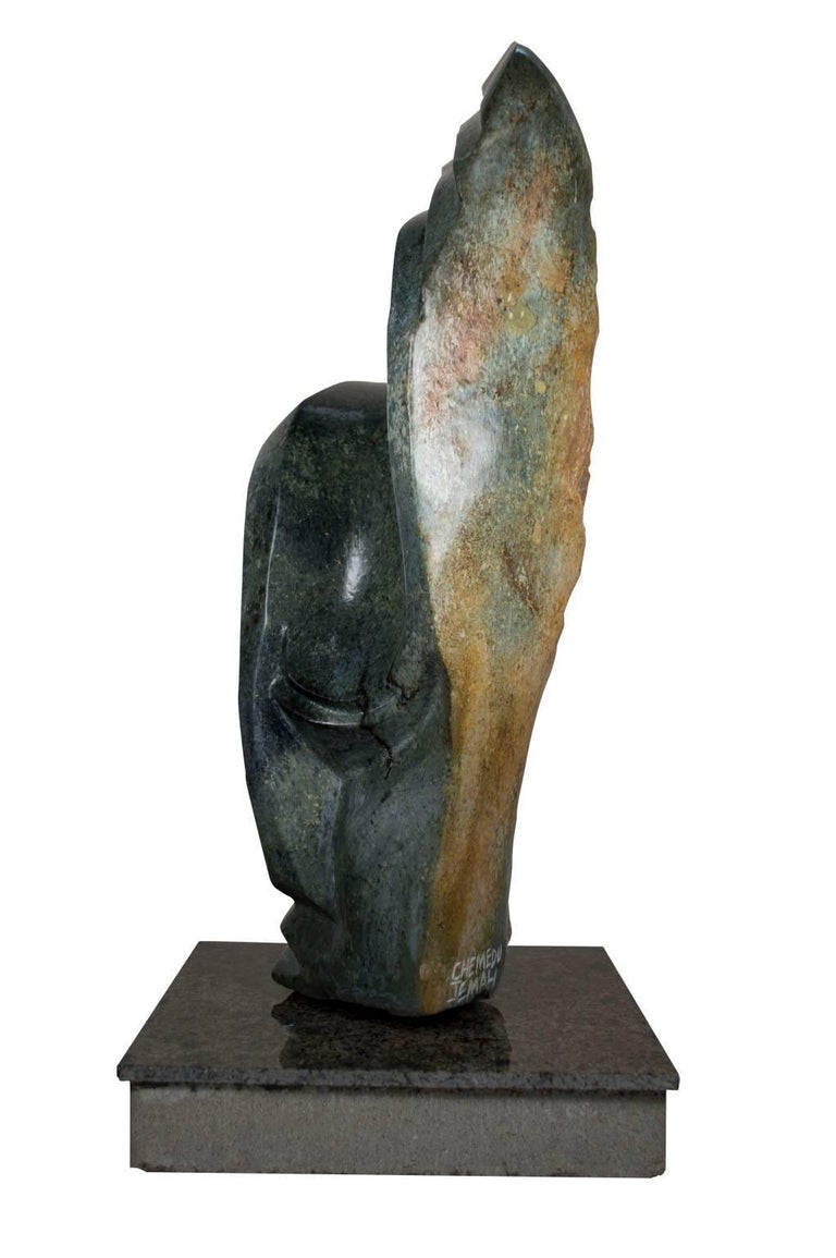 Shona Chief - Black Figurative Sculpture by Chemedu Jemali