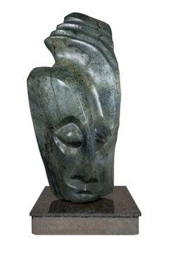 """Shona Chief,"" Carved Serpentine Stone signed by Chemedu Jemali"