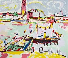 Landscape - Harbor Scene (Honfleur) after Andre Derain