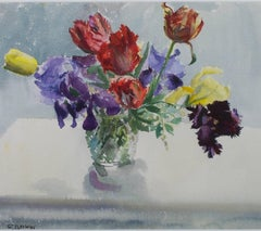 """""""Vase of Parrot Tulips & Irises,"""" a Watercolor signed by Alicia Czechowski"""