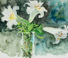 """""""Regal Lilies in a Vase,"""" Gouache signed by Alicia Czechowski"""