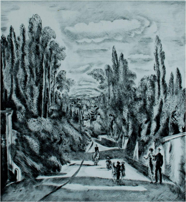 """""""Passage a Village"""" is an original drypoint print by Hermine David. It depicts a number of figures on a path into a village using various forms of transportation. This piece is edition 120/150.  11"""" x 9 3/4"""" art 21 5/8"""" x 17"""" frame  Hermine Lionette"""