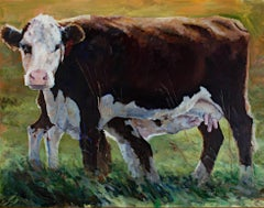 """Nursing Cow,"" Oil on Canvas signed by Heather Foster"