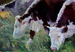 """Grazing,"" Oil on Canvas signed by Heather Foster"