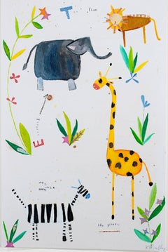 """Safari in the Garden KMH 014,"" a Acrylic & Mixed Media signed by Hartley"