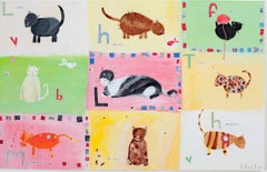 """Nine Live Kittens KMH 015,"" Acrylic & Mixed Media signed by Katherine Hartley"