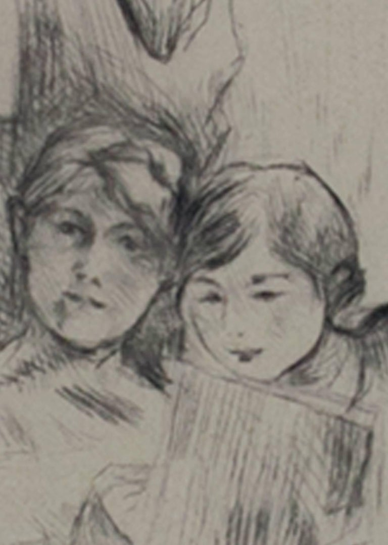 The Drawing Lesson - Gray Figurative Print by Berthe Morisot