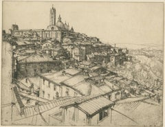 """Siena From a Window,"" Original Etching signed by Ernest David Roth"