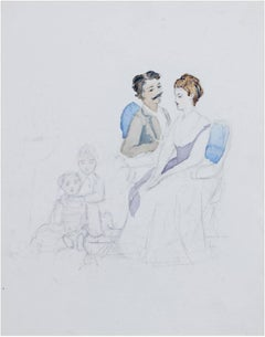 """Couple with Two Children"" Original Watercolor & Pencil Drawing by H. Rothschild"