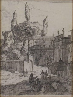 """Conversation Outside Castle,"" an Etching by Jan Frans van Bloemen"