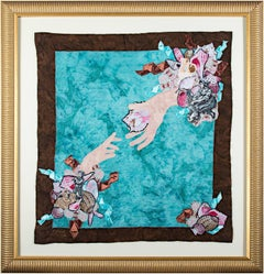 """Mother's Day (Hands & Seashells),"" Mixed Media Textile signed by Stacy Wiatrak"