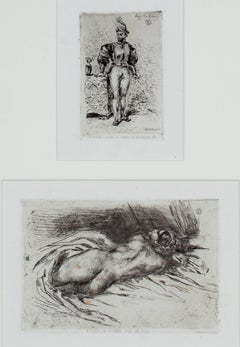 """A Man in Army Dress"" & ""Study of a Woman"" Original Etching by Eugene Delacroix"