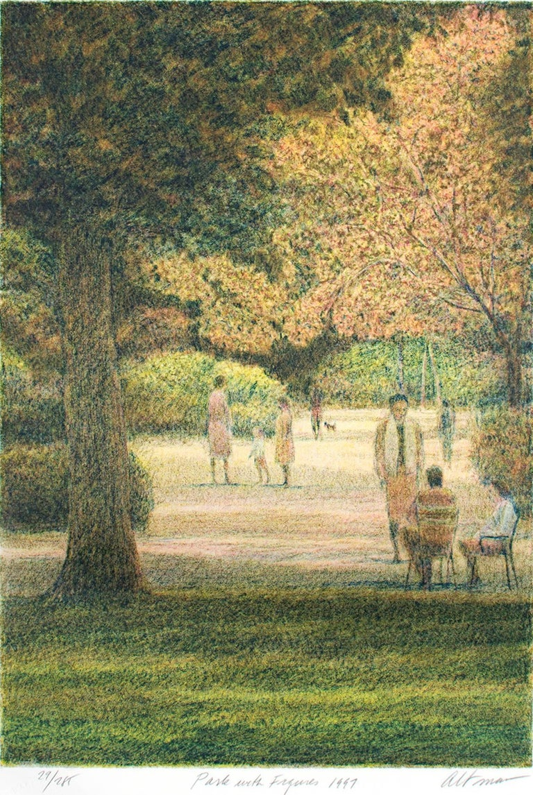 """""""Park With Figures"""" is an original color lithograph by Harold Altman. The artist signed the piece in the lower right, titled and dated it lower center, and wrote the edition number (29/285) in the lower left. This print depicts a number of small"""