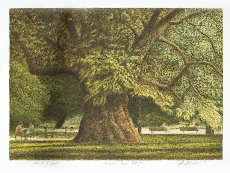 """Great Tree"" is an original color lithograph by Harold Altman. The artist signed the piece in the lower right, titled and dated it lower center, and wrote the edition number (Artist's Proof) in the lower left. This print depicts a number of small"