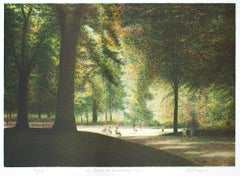 """Le Jardin du Luxembourg,"" Original Color Lithograph signed by Harold Altman"