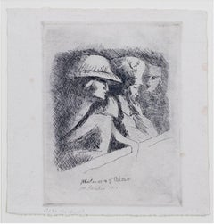 """""""Matinee a l'Odeon,"""" Original Etching signed by Maurice Asselin"""