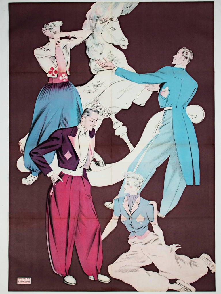 "Pierre Laurent Brenot Figurative Print - ""Fashionable Boulevard Montmartre,"" Original Lithograph Poster by Pierre Brenot"