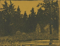"""Forest Primeval,"" Linoleum Block Print signed by George Raab"