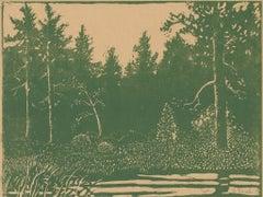 """""""Solitude,"""" Linoleum Block Print signed by George Raab"""