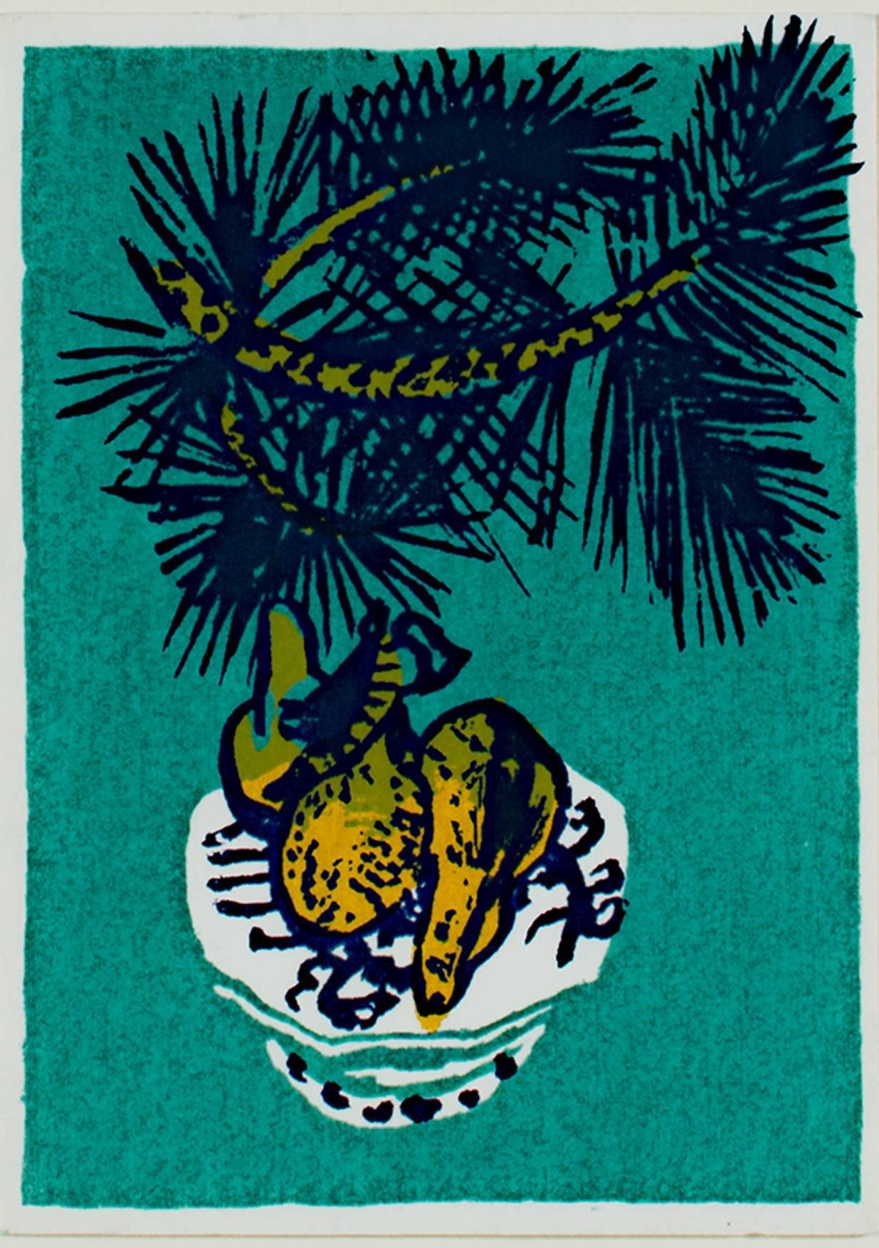 """Festive Fruit,"" Original Color Silkscreen signed by Ruth Grotenrath"