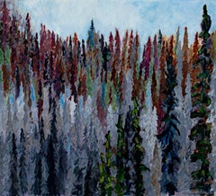 """Spruce Forest & Raven,"" Oil on Paper signed by Catherine Holmburg"