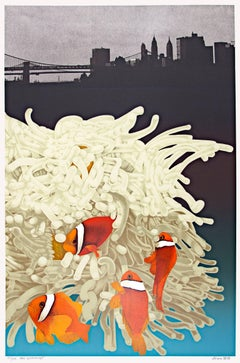 """East River Dance,"" Color Lithograph of Clown Fish signed by Michael Knigin"
