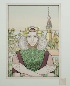 """""""La Phalène des Isles de la Mer,"""" Original Color Lithograph by Franz Melchers"""