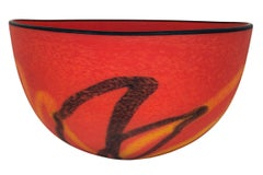 """""""Red Matte Bowl,"""" Hand Blown Glass signed by Ioan Nemtoi"""