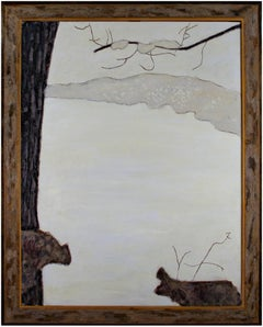 """""""Snow on the Lake,"""" Oil on Wood signed by Robert Richter"""