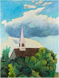 """Summer Church,"" Oil on Wood signed by Robert Richter"