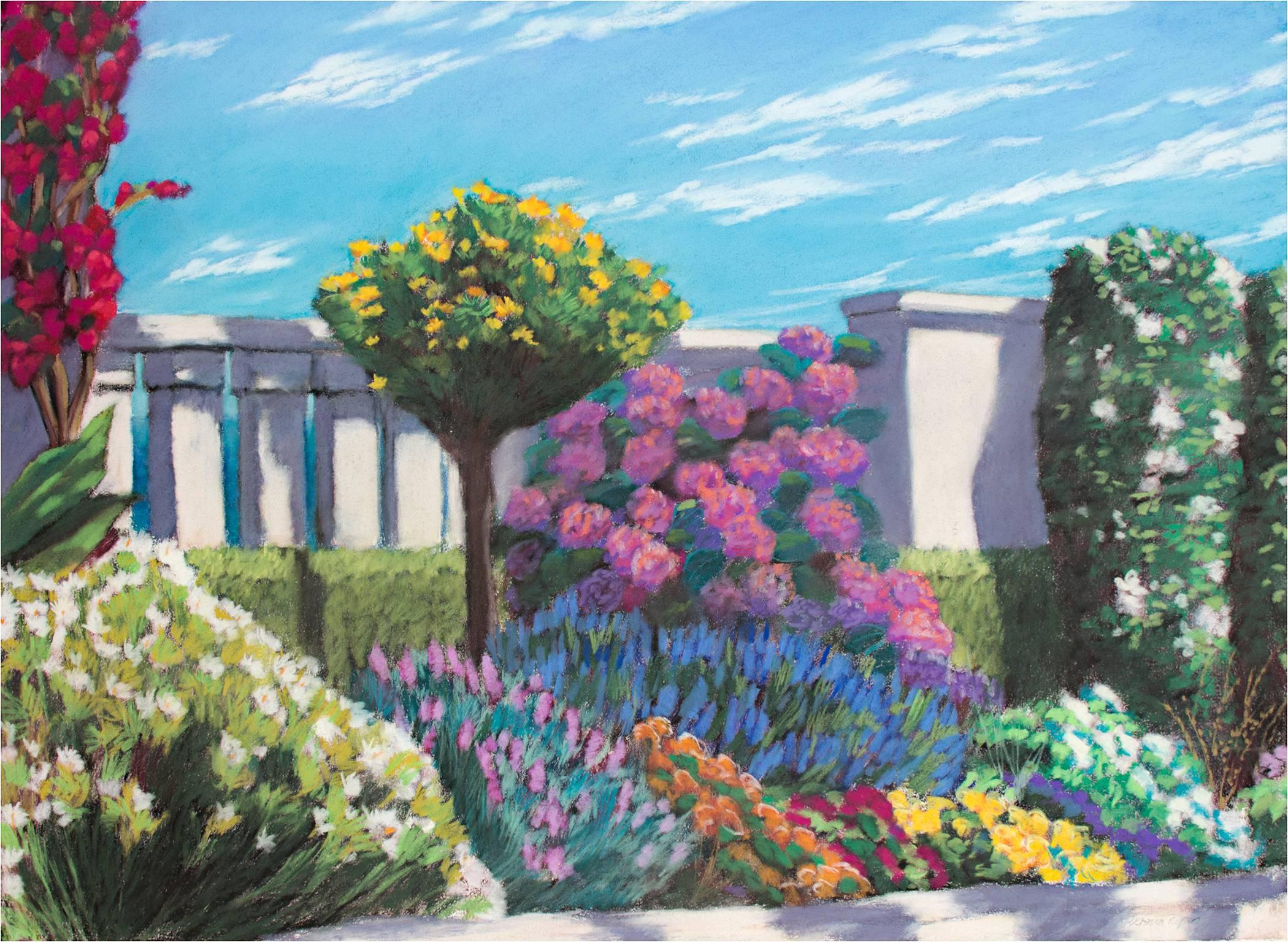 """""""Garden by the Sea 1,"""" Pastel on Paper signed by Victoria Ryan"""
