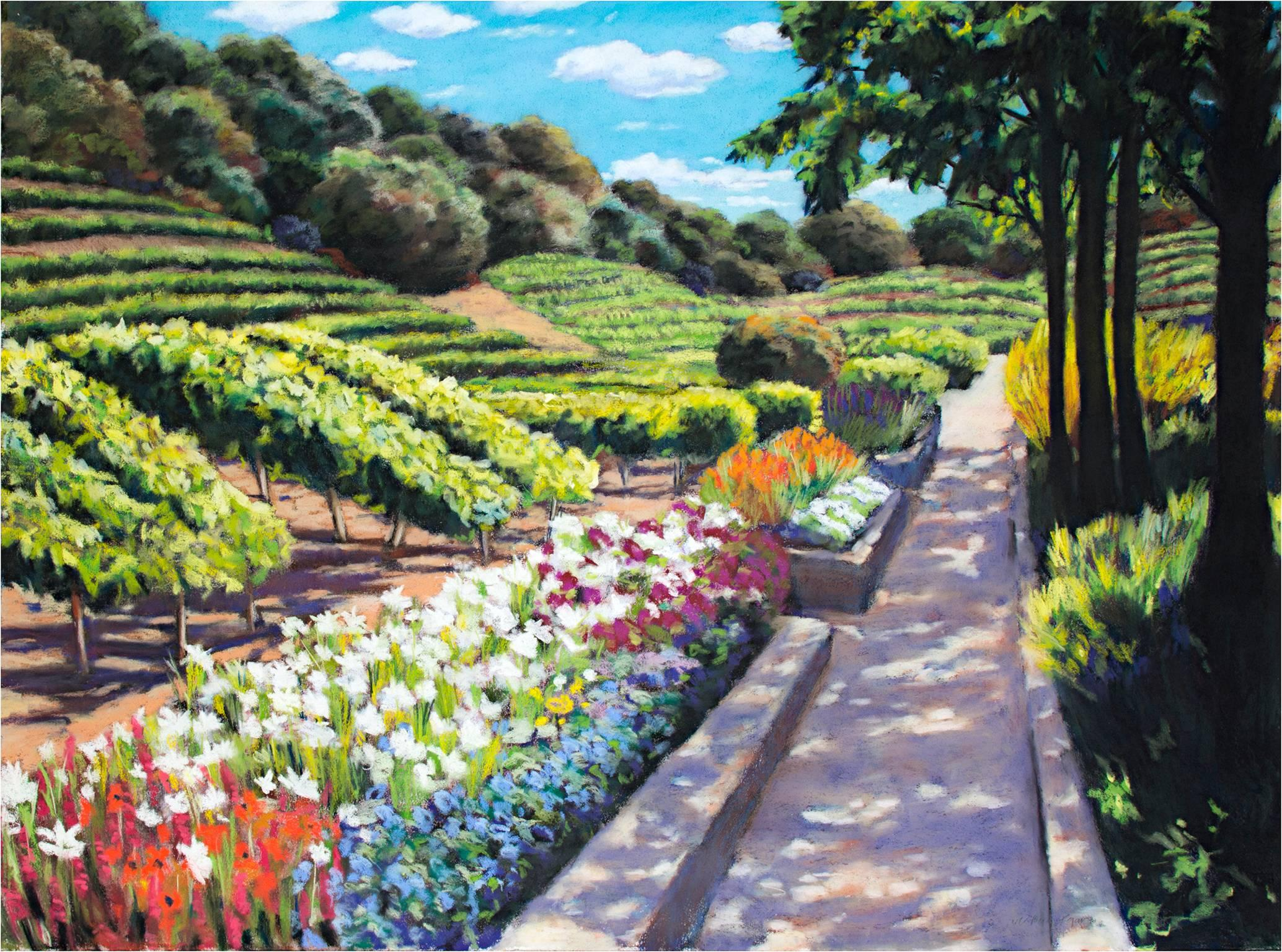 """""""In The Beginning 5,"""" Pastel Groomed Garden Landscape signed by Victoria Ryan"""