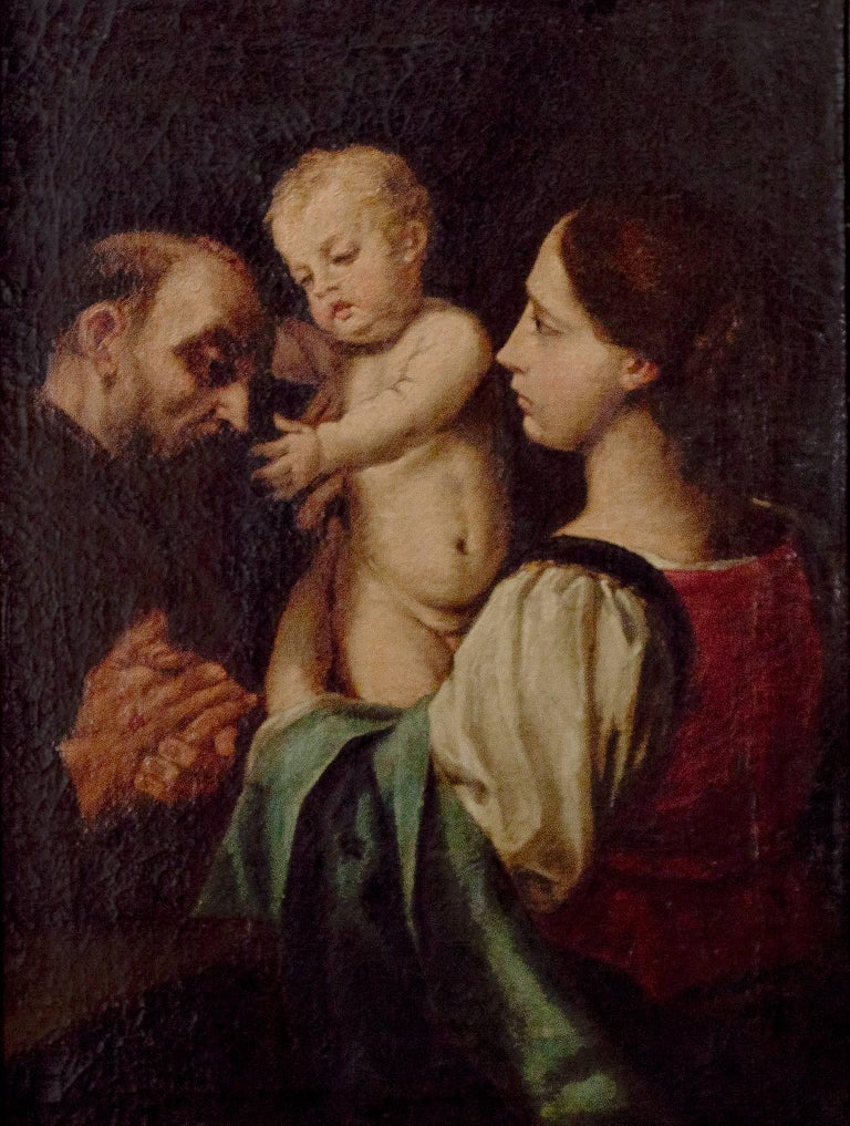 "Unknown Portrait Painting - ""Madonna and Child with Saint Francis,"" Oil on Canvas after Simone Cantarini"
