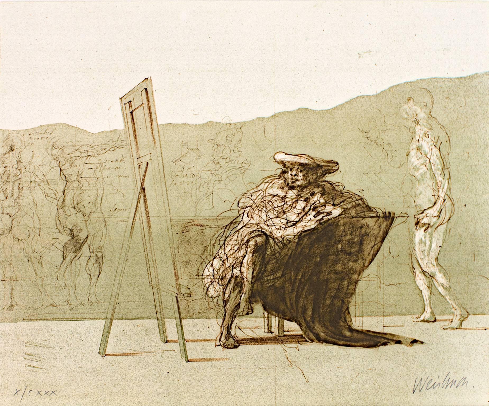 """""""Anatomie d'Un Reve,"""" Original Color Lithograph signed by Claude Weisbuch"""