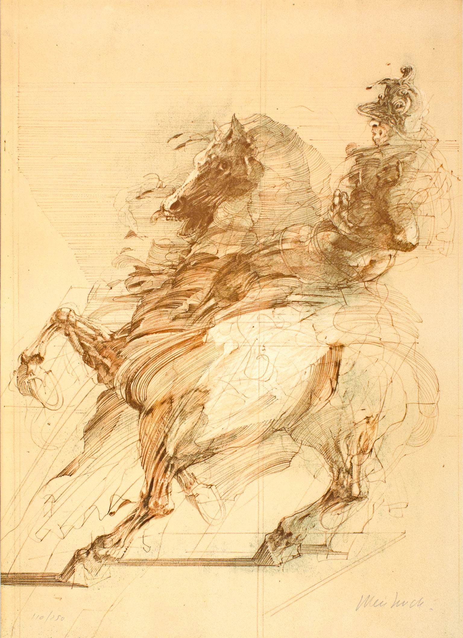 """Le Condottiere,"" Original Color Lithograph signed Claude Weishbuch"