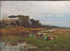 """Italian Landscape,"" Oil on Canvas Landscape signed by Pietro Barucci"