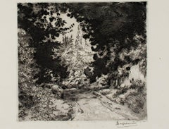 """Road Landscape,"" Original Etching and Aquatinit by Felix Bracquemond"