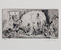 """Le Petit Cirque Prinder,"" Original Etching signd by Auguste Brouet"