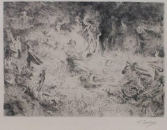 """A Witch's Sabbath/A Porcabeuf,"" Etching signed by Fernand Cormon"