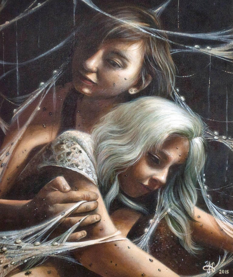 """""""Metus (Fear)"""" is an original acrylic painting by Yonder Castillo. The artist initialed and dated the piece in the lower right. This painting depicts two women ensnared in a web where insects crawl.  20"""" x 16"""" art 21 5/8"""" x 17 5/8"""" frame  Yonder"""
