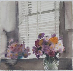 """""""Vase of Chrysanthemums,"""" Watercolor signed by Alicia Czechowski"""