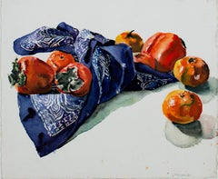 """Persimmons, Tangerines & Blue Kerchief,"" Watercolor signed by Alicia Czechowski"