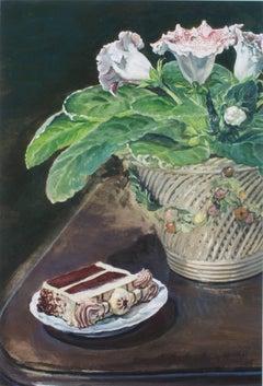 """""""Gloxinia & Slice of Torte,"""" Gouache Still Life by Alicia Czechowski"""