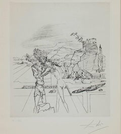 """Surrealist Sunday,"" Heliogravure, engraved after the drawing, signed by Dali"