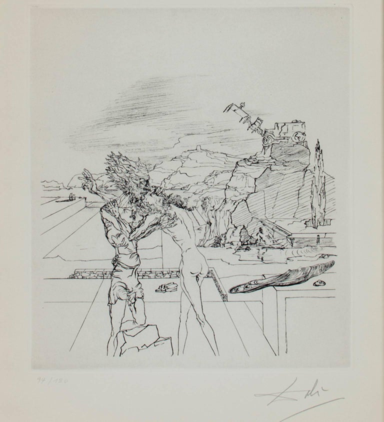 "Salvador Dalí Figurative Print - ""Surrealist Sunday,"" Heliogravure, engraved after the drawing, signed by Dali"